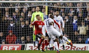 jan. 2016: Souleymane Doukara scores Leeds' second goal with a fierce volley in the 2-0 win over Nottingham Forest at Elland Road
