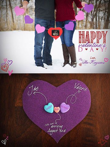 Who knew there were so many ways to use conversation hearts?! Graphic designer and photographer Valerie Keyser had recently had her 12-week ultrasound when she decided to do a Valentine-themed pregnancy announcement. She and a friend used the sonogram photo to create a paper heart banner and did a photo shoot in the snow. The rest she created in Photoshop, and then posted it on Facebook.
