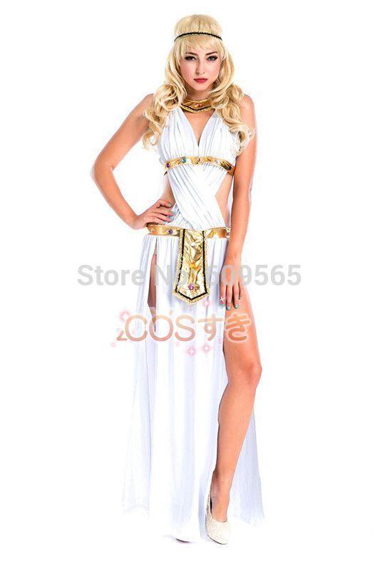 Бесплатная доставка! женщины греческая богиня равномерное, женщины хэллоуин костюмы, сексуальная клеопатра косплей платье, головной убор, ожерелье