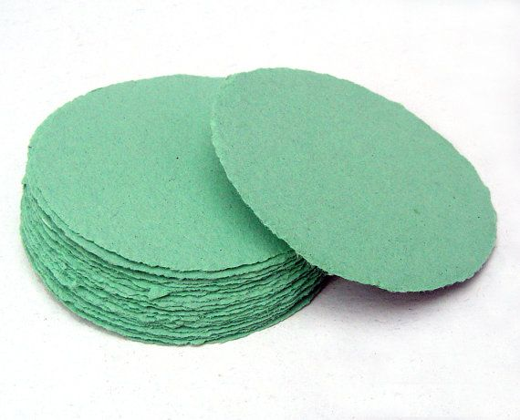 Mint green paper circles handmade paper recycled by PaperRecyclery