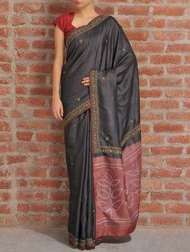 Black-Maroon Tussar Silk Saree