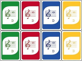 This looks cool! Music Centers opportunity?? MUSIC: AN UNO-INSPIRED TREBLE CLEF CARD GAME - TeachersPayTeachers.com