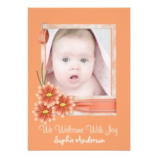 Orange Daisy Baby Girl Photo Birth Announcement