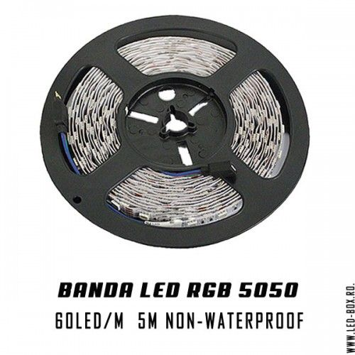 Banda led 5050 rgb smd 60 led metru 300 led rola de 5 banda cu led non-waterproof ip20 fara silicon 12v