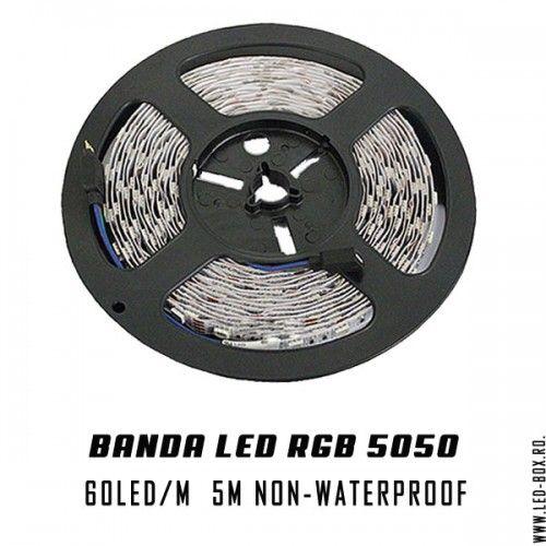 Banda led 5050 rgb smd 60 led metru 300 led rola de 5 banda cu led non-waterproof ip20 fara silicon 12v
