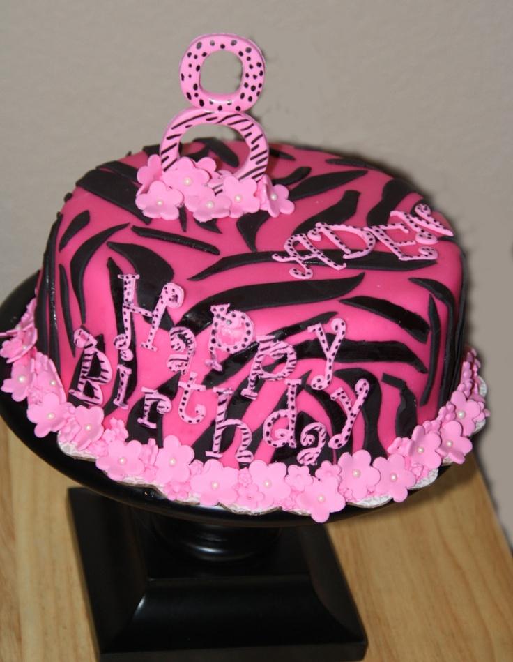8 Year Old Birthday Cake Hot Pink Zebra Pattern