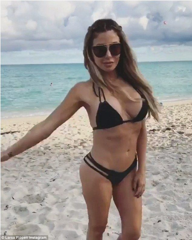 Flaunting it! Larsa Pippen  didn't leave much to the imagination as she posed provocatively in a clip she posted to Instagram Thursday