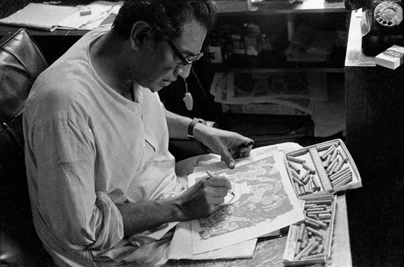 Portraits of Satyajit Ray. Nemai Ghosh's photographs of Satyajit Ray show a master filmmaker at work, both on location and at home in his study.