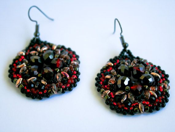 handbeaded earrings with red and black crystals and by TreGrazie