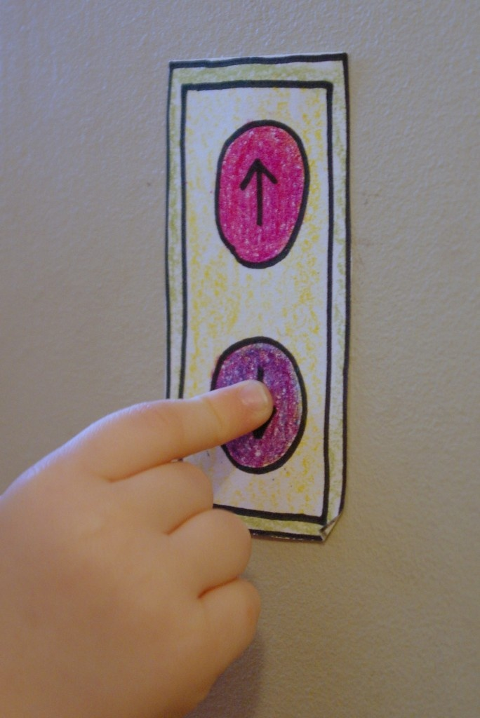 "What a simple and fun activity for kids. Make and color pretend elevator buttons and have fun ""riding up and down"" all day!"