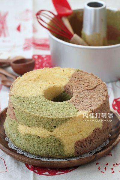 迷彩三色戚風蛋糕食譜、作法   肉桂打噴嚏的多多開伙食譜分享