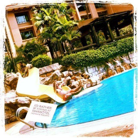 We love this fun photo at Swissôtel Merchant Court's pool. Share your fun photo here http://bit.ly/RatherBeStaying