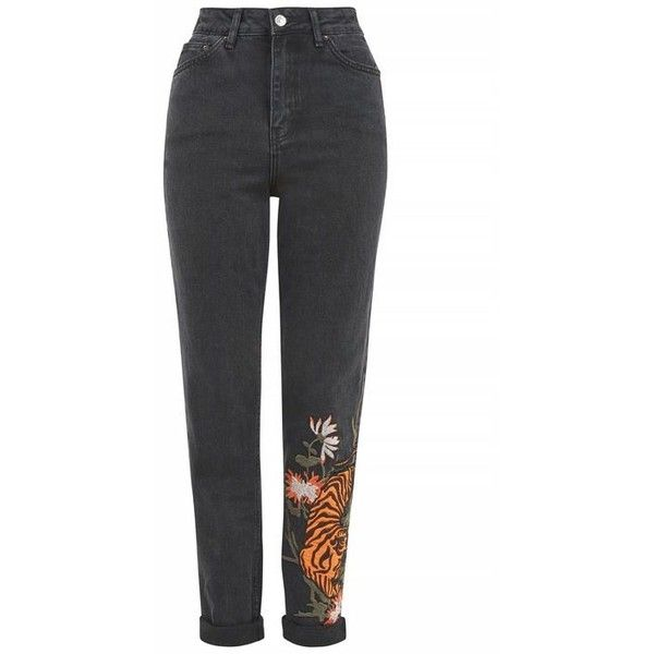 Topshop Tall Tiger Applique Mom Jeans (71 PAB) ❤ liked on Polyvore featuring jeans, topshop, mom jeans, pant, high rise jeans, tapered leg jeans, embroidery jeans, topshop jeans and high-waisted jeans