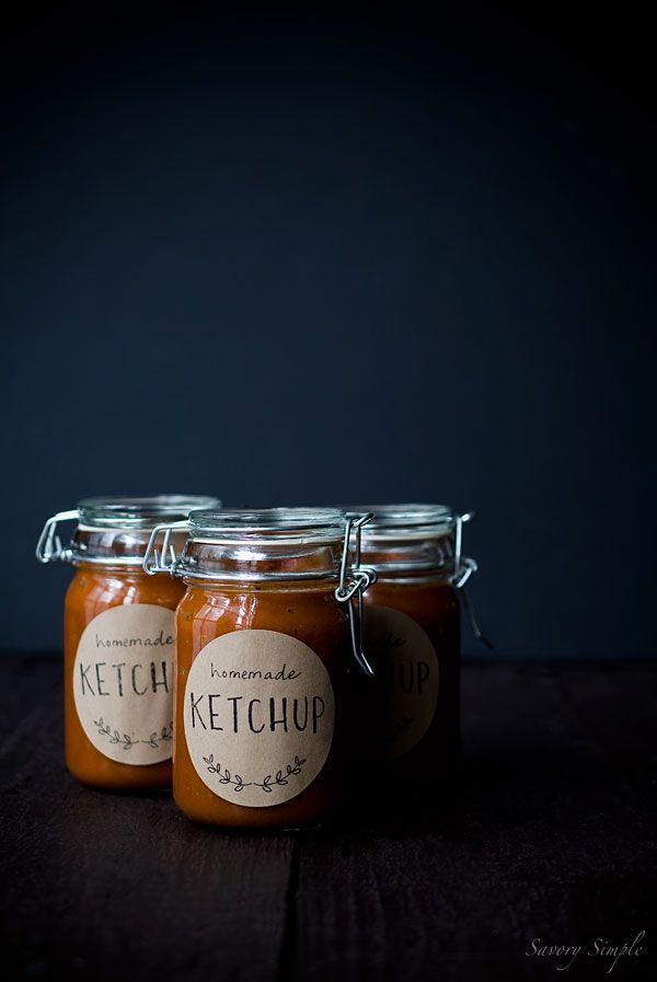 Printable jar labels // Homemade tomato rhubarb ketchup - via Savory Simple and…