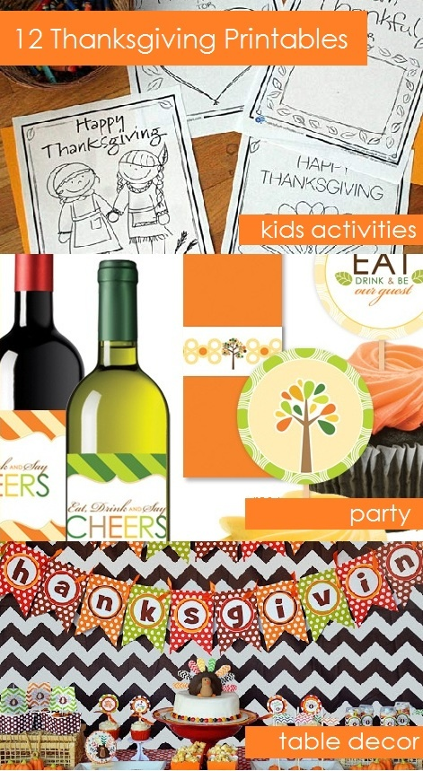 Free Thanksgiving Printables: Kids Coloring Sheets, Party Favors, Table Decor, & Games