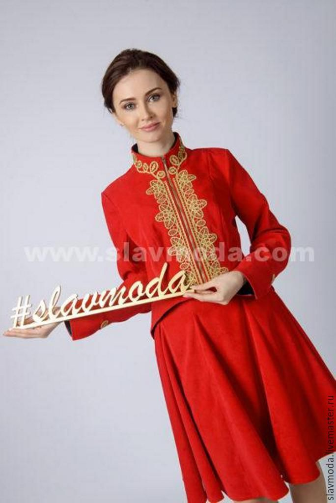 Купить КОЛЕТ УКОРОЧЕННЫЙ (JK-006) - ярко-красный, колет, женская одежда, русский стиль