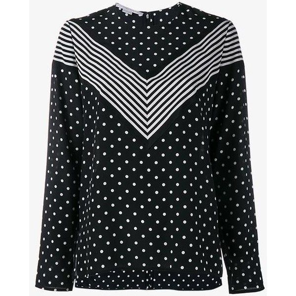 Stella McCartney 'Louisa' blouse (4.297.510 IDR) ❤ liked on Polyvore featuring tops, blouses, black, pattern blouse, print top, patterned tops, chevron blouses and stella mccartney blouse