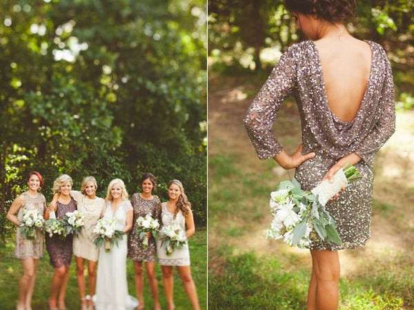 My wedding NEEDS to be like this!  glittery bridesmaid dresses - photo by Kelly Maughan Photography http://ruffledblog.com/north-carolina-wedding-sourced-from-antique-shops