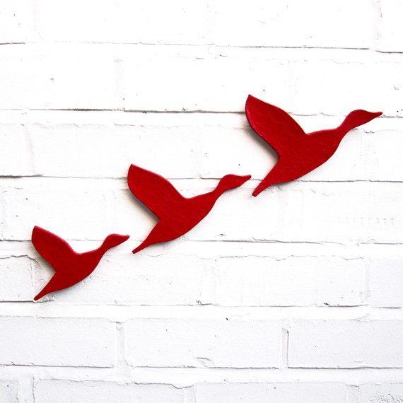 Modern Kitchen Art Set: Ceramic Wall Art Three Flying Ducks Set Bright Scarlet Red