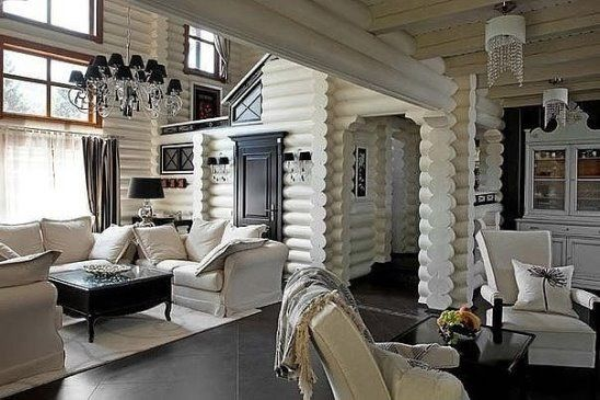 Love the white painted logs