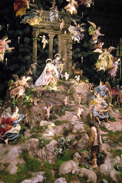 Christmas tree and creche at the Metropolitan Museum of Art in New York City. All the angels and village pieces are Neopolitan from the 18th century.