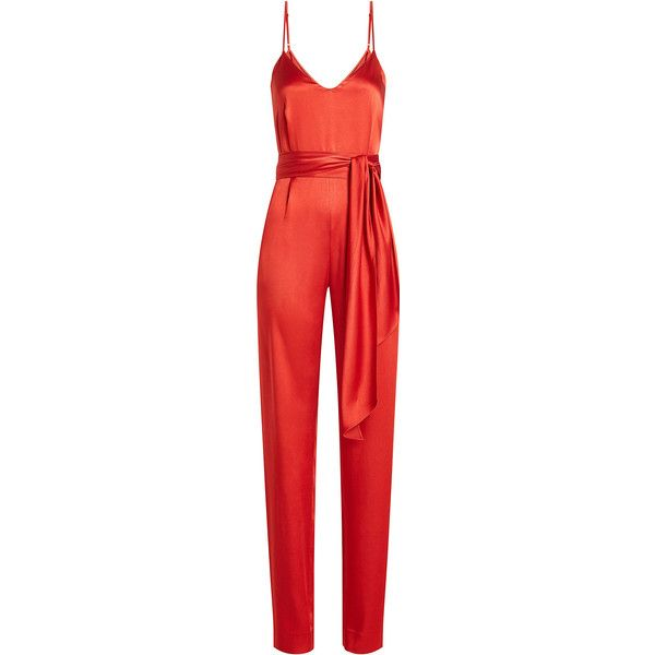 Diane von Furstenberg Satin Jumpsuit ($365) ❤ liked on Polyvore featuring jumpsuits, jumpsuit, playsuit, pants, romper, red, red sash belt, satin romper, playsuit jumpsuit and satin jumpsuit