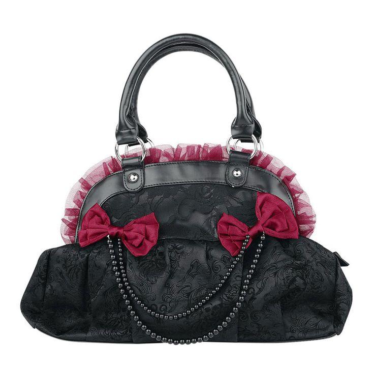 Zwarte tas met rode strikjes en kralen - Vintage retro