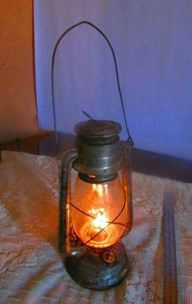 Vintage meva oil kerosene lamp made in Czechoslovakia steam