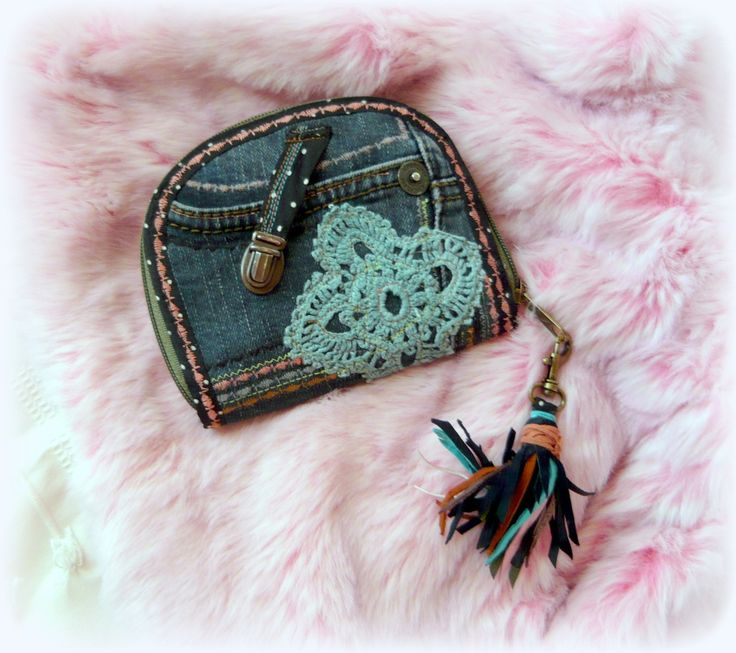 Handmade by Judy Majoros - Denim chrochet wallet with leather fringe. Recycled…