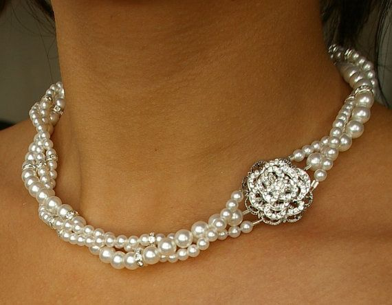 Wedding Jewelry Vintage Style NecklaceTwisted Pearl by luxedeluxe, $118.00
