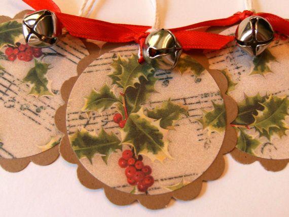 Christmas Gift Tags  Jingle Bells  Mistletoe by 3creativesisters