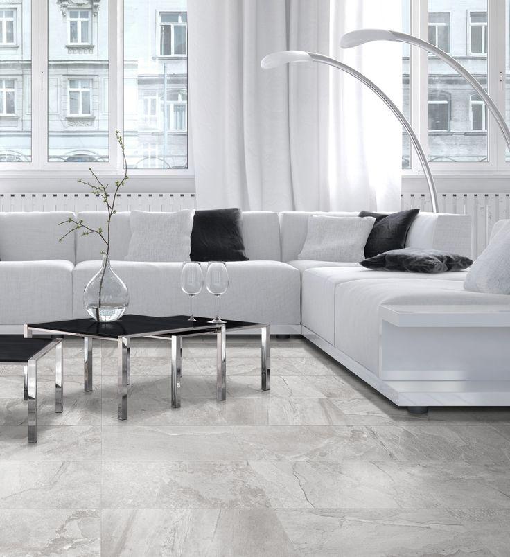 Stylish Cavern Light Grey Slate Effect Floor Tiles White Living RoomsLiving Room