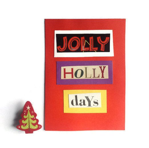 Jolly Holly Days  Christmas Card in RED comes with by FuNkTjUnK