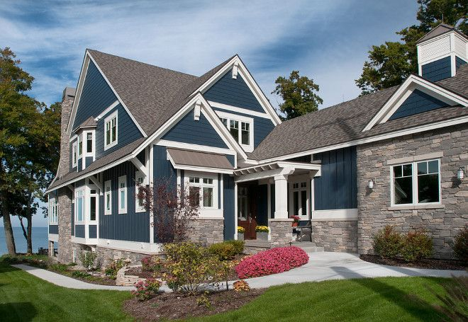 The exterior paint color is Hale Navy HC-154 from Benjamin Moore. It's nautical but also very classic.
