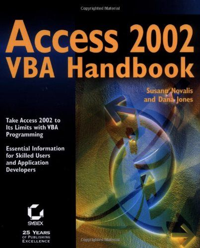 Access 2002 VBA Handbook. Length: 880. Dana Jones, Susann Novalis. Using ActiveX controls in your VBA procedures. Understanding the ADO and DAO models. How Far Can You Go with Access 2002?The answer depends on your knowledge of VBA programming. Accessing data using OLE DB and ODBC. Understanding the essentials of Visual Basic for Applications (VBA). And if you are a more experienced developer, you get the advanced VBA programming skills you need to build the Access applications your...