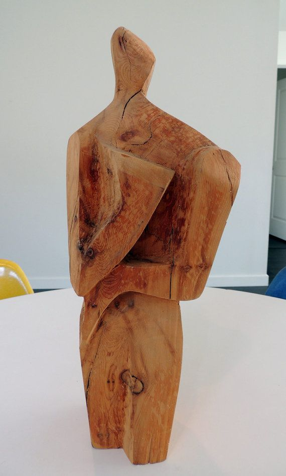 Mid century wood sculpture abstract person modernist by plastolux, $95.00