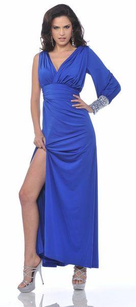 Unique Royal Blue Front Slit Long Formal Dinner Party Dress Tea Length $207.99