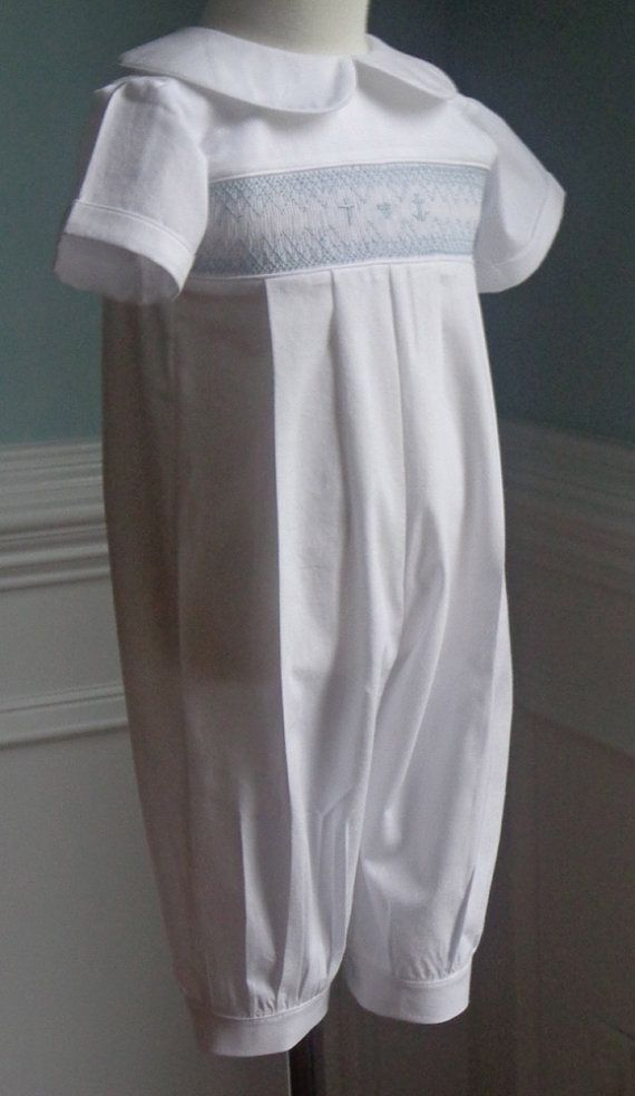 Reserve for Shelley- Long Pants  Baby Boy Baptism Hand Smocked outfit made to order