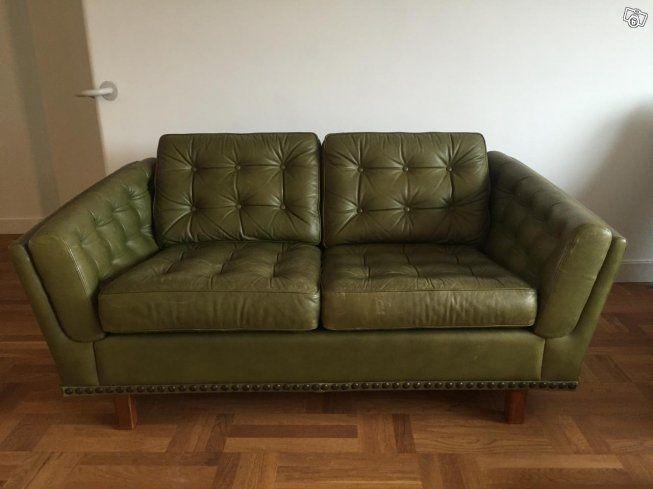 Retro soffa läder grön tvåsits | Göteborg