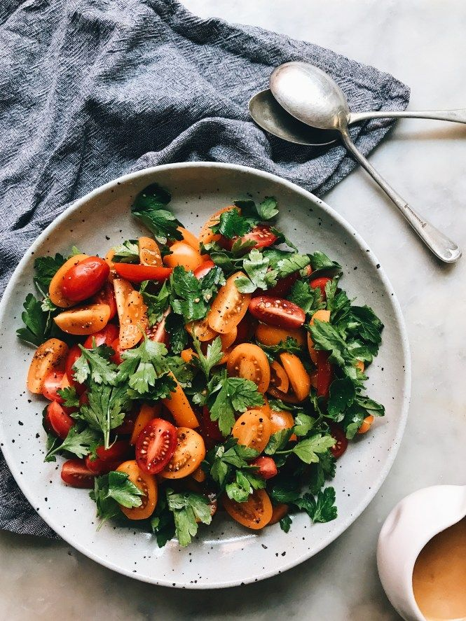 Tomato and Parsley Salad with a Miso and Extra Virgin Olive Oil Dressing