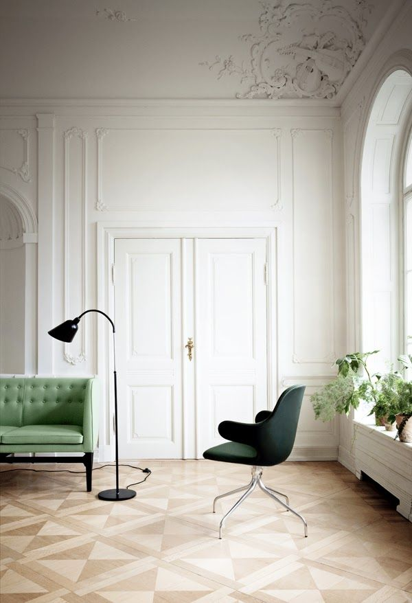 Drop dead gorgeous rooms with a touch of green.