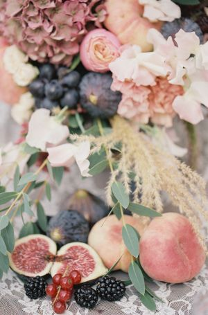This Romantic Provencal Wedding Inspiration from French Wedding Style and Cat Hepple features figs, berries and olive branch details.
