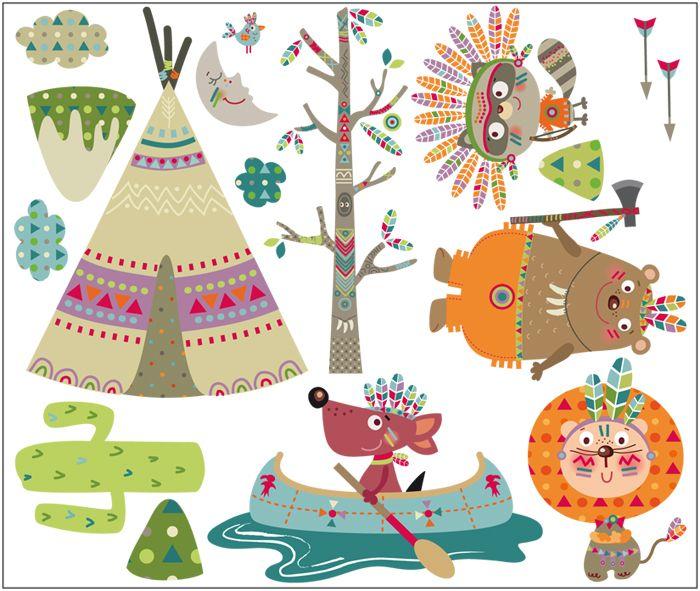 vinilo de tela decorativo | Indios felices