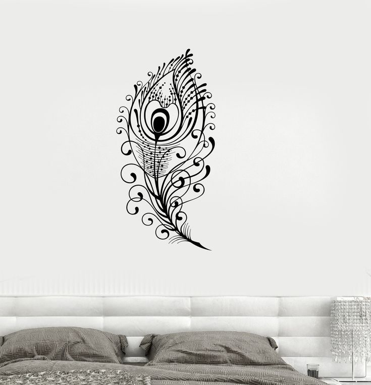 Vinyl Decal Peacock Feather Beautiful Wall Sticker Living Room Decor Girls Room Decoration