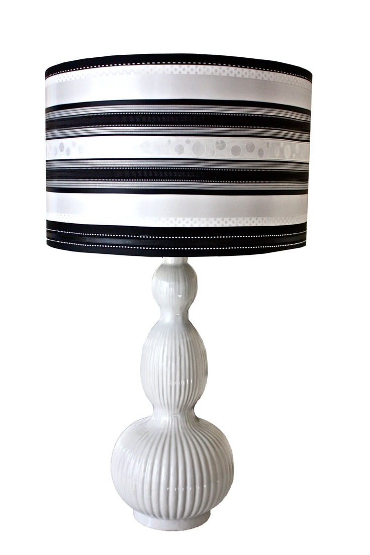 Striped black and white recycled drum lampshade with for Types of lamp shades