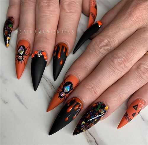 Popular Acrylic Stiletto Nails Art Designs In Fall ;# ...