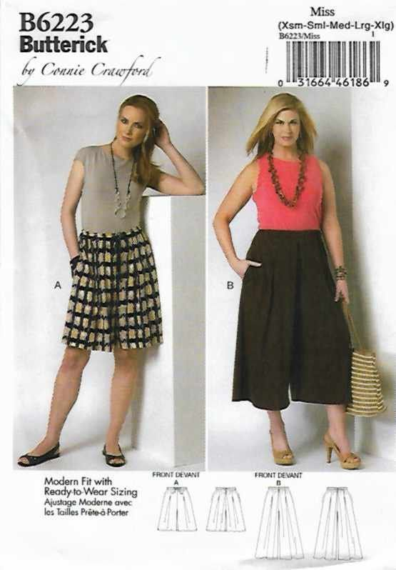 Butterick+Sewing+Pattern+6223+Misses+Size+3-16+Culottes+Split-Skirt+Gauchos+Connie+Crawford