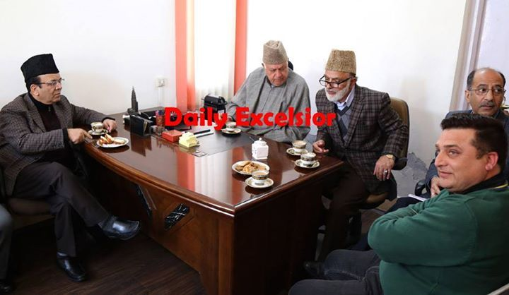 National Conference president Dr Farooq Abdullah along with party leaders at Nawai-e-Subh complex after addressing his workers