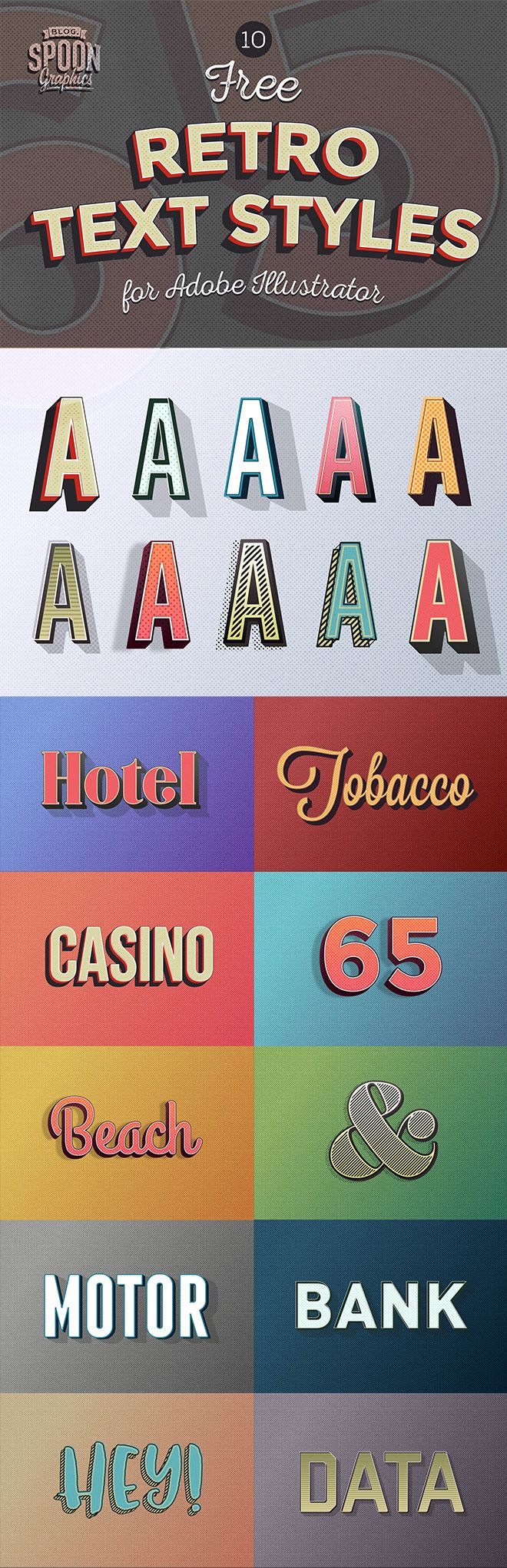 10 Free Retro Text Effect Graphic Styles for Adobe Illustrator |  Blog.SpoonGraphics by Chris Spooner