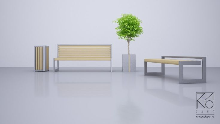 Stainless steel street benches and planters